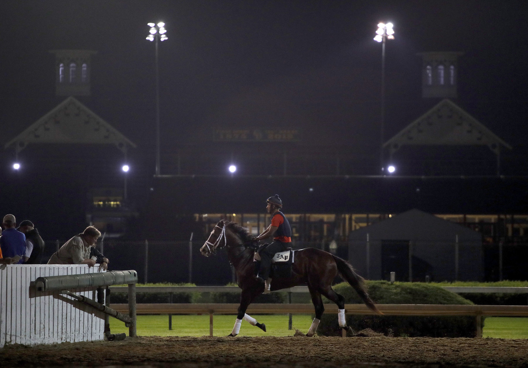 A horse trains during a morning workout at Churchill Downs Thursday, May 3, 2018, in Louisville, Ky. The 144th running of the Kentucky Derby is scheduled for Saturday, May 5. (AP Photo/Charlie Riedel