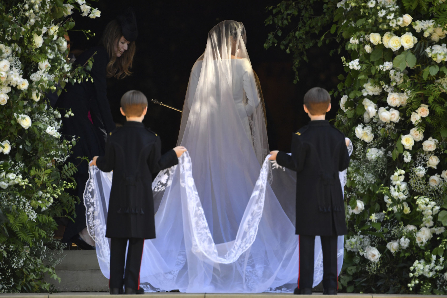 Meghan Markle arrives for her wedding ceremony at St. George's Chapel in Windsor Castle in Windsor, near London, England, Saturday, May 19, 2018. (Ben Stansall/pool photo via AP)