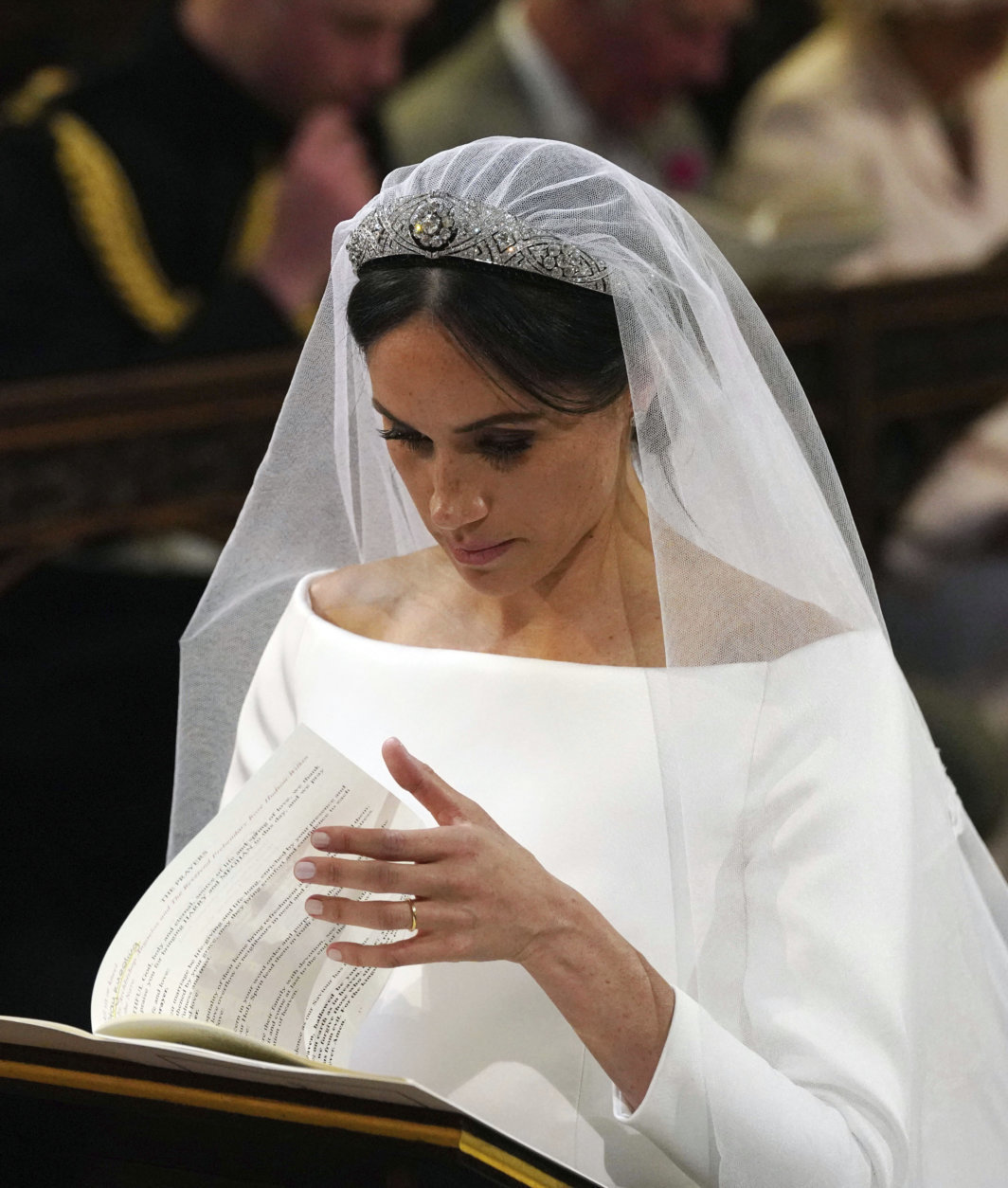 Meghan Markle during their wedding service at St. George's Chapel in Windsor Castle in Windsor, near London, England, Saturday, May 19, 2018. (Jonathan Brady/pool photo via AP)
