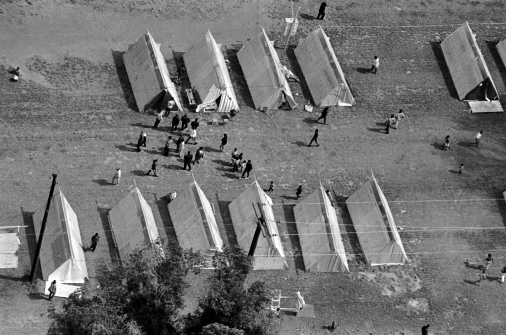 An aerial view of Poor People's Campaign tents, called Resurrection City in Washington, May 1968. (AP Photo/Barry Thumma)