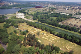 An aerial view of Poor People's Campaign tents, called Resurrection City, with the Lincoln Memorial in the background, in Washington, May 1968. (AP Photo/Barry Thumma)