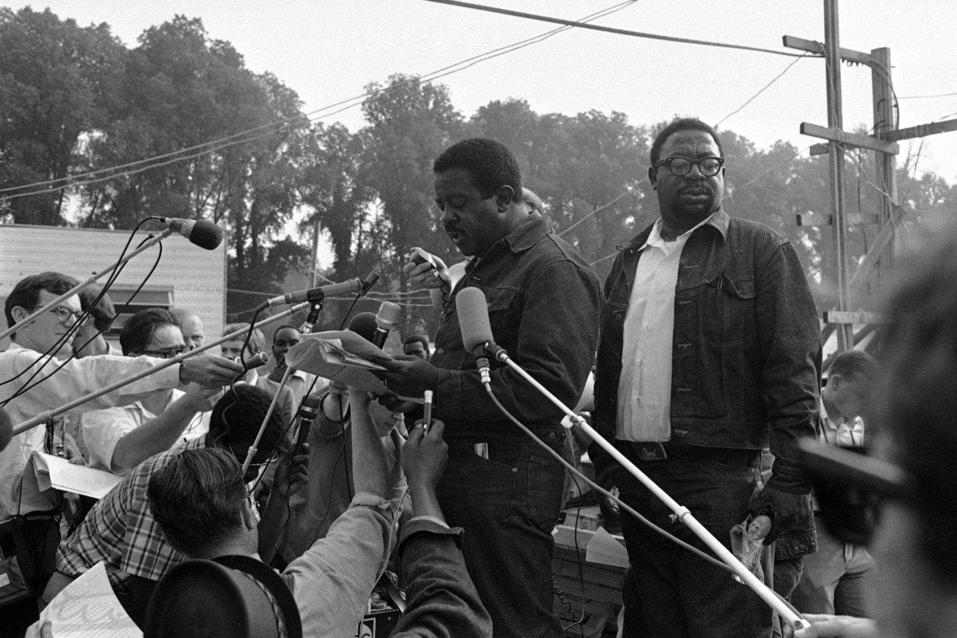 Rev. Ralph Abernathy speaks to newsmen during the Poor People's Campaign in Washington, June 24, 1968.  (AP Photo/Bob Daugherty)