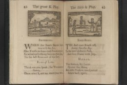 """Base-Ball,"" from A Little Pretty Pocket Book, 1787. Worcester, Massachusetts : Isaiah Thomas, 1787. Rare Book and Special Collections Division. This first American edition of a British children's book contains the earliest known printed reference to baseball in what would become the United States. The accompanying illustration depicts players next to posts that served as bases. (Courtesy: Library of Congress)"