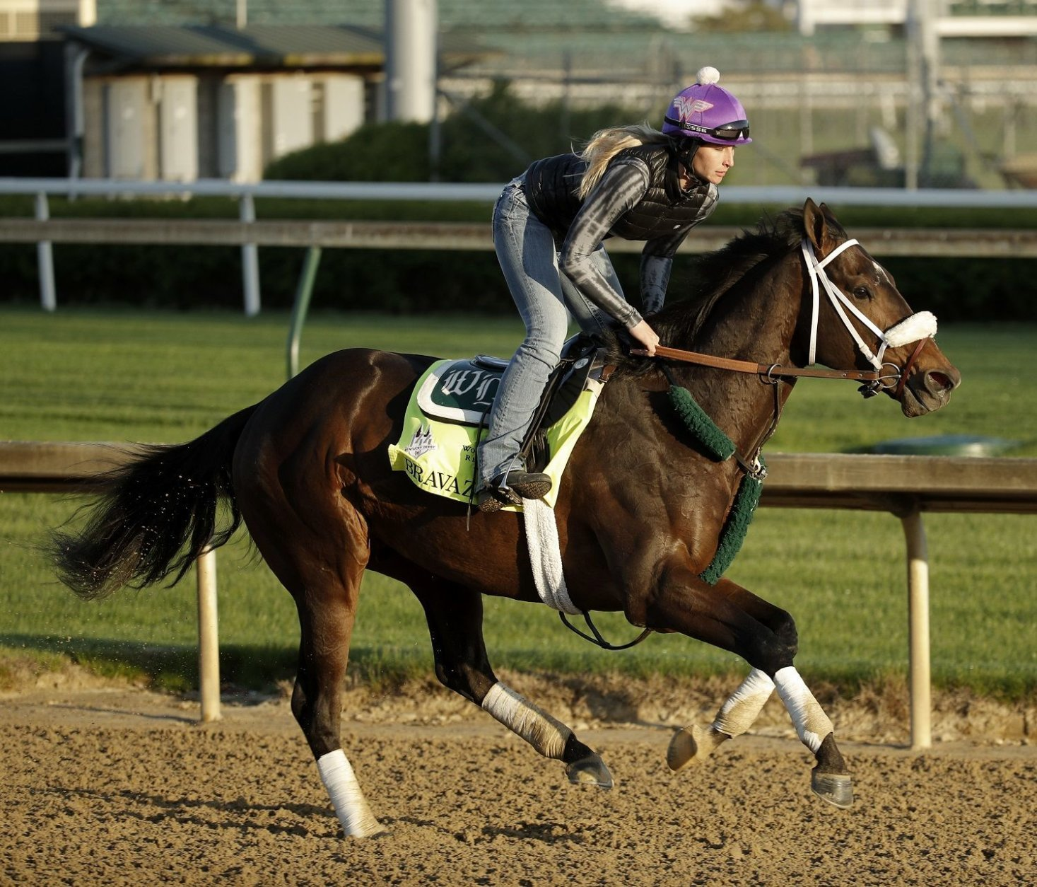 Kentucky Derby hopeful Bravazo runs during a morning workout at Churchill Downs Tuesday, May 1, 2018, in Louisville, Ky. The 144th running of the Kentucky Derby is scheduled for Saturday, May 5. (AP Photo/Charlie Riedel)