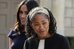 Meghan Markle, background and her mother, Doria Ragland, arrive at Cliveden House Hotel, in Berkshire, England, Friday, May 18, 2018 to spend the night before her wedding to Prince Harry on Saturday. (Steve Parsons/Pool Photo via AP)