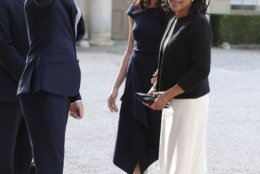 Meghan Markle, second right and her mother, Doria Ragland, arrive at Cliveden House Hotel, in Berkshire, England, Friday, May 18, 2018 to spend the night before her wedding to Prince Harry on Saturday. (Steve Parsons/Pool Photo via AP)