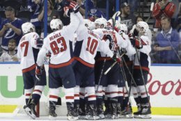 Washington Capitals celebrate after defeating the Tampa Bay Lightning 4-0 in Game 7 of the NHL Eastern Conference finals hockey playoff series Wednesday, May 23, 2018, in Tampa, Fla. (AP Photo/Chris O'Meara)
