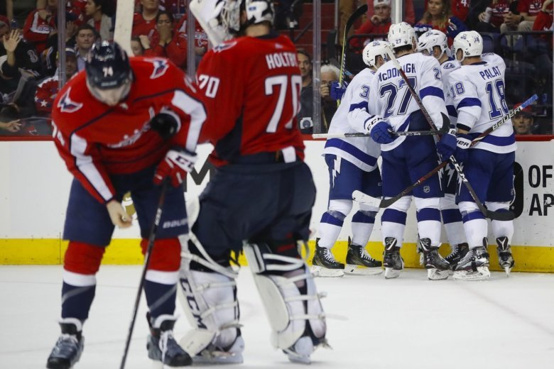 3d115beadec Tampa Bay Lightning left wing Alex Killorn (17) is surround by his  teammates after scoring on Washington Capitals goaltender Braden Holtby  (70) during.