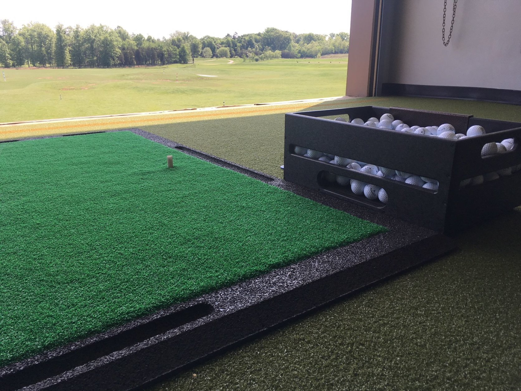The Launchbox Golf option at 1757 Golf Club is the first of its kind in the D.C. area, merging elements of traditional golf and Topgolf. (WTOP/Noah Frank)