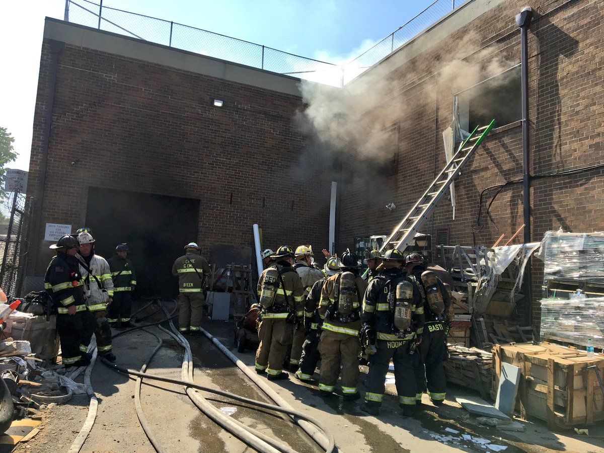 Fire crews responded to the fire at the warehouse in the 6500 block Chillum Place in Northwest around 3 p.m. (Courtesy DC Fire & EMS)