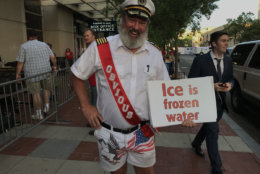 Some interesting costumes were seen outside the Capital One Arena in Washington, D.C. as the Washington Capitals faced the Tampa Bay Lightning in Game 7 on Wednesday, May 23, 2018. (WTOP/Michelle Basch)