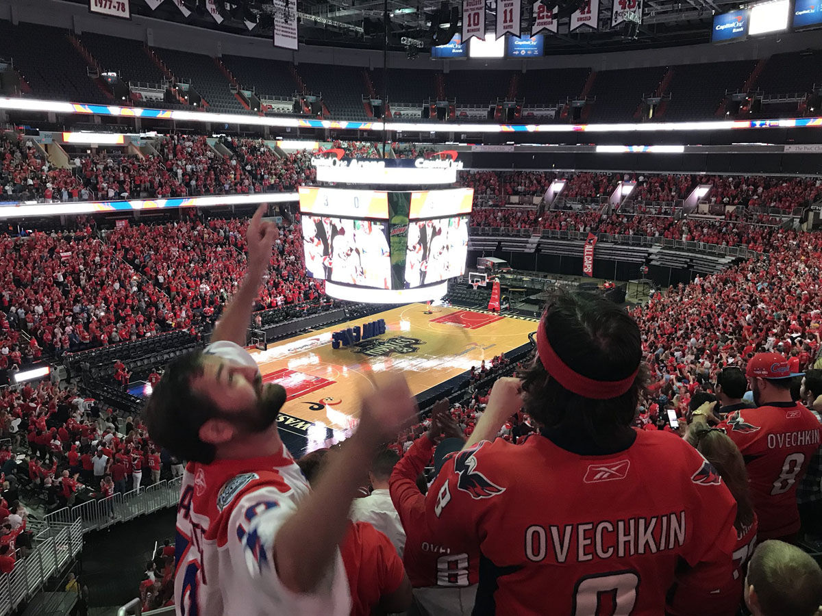 Fans celebrate in Washington, D.C. after the Washington Capitals score in Game 7 on Wednesday, May 23, 2018. (WTOP/Michelle Basch)
