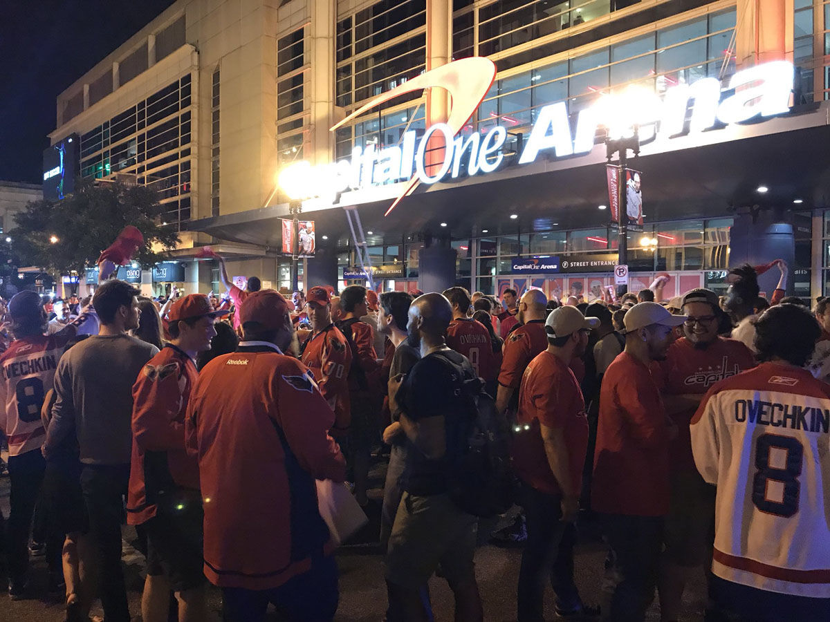 Fans celebrate in Washington, D.C. after the Washington Capitals win Game 7 on Wednesday, May 23, 2018. (WTOP/Michelle Basch)