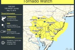 A tornado watch has been issued for parts of Maryland, Delaware, New Jersey and Pennsylvania until 1 a.m. Sunday, said the National Weather Service. (Courtesy National Weather Service)