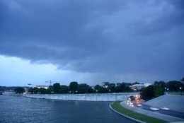A mix of high temperatures and a cold front to the north of the region is bringing damaging storms to the D.C. area. The National Weather Service has issued severe thunderstorm warnings and watches for parts of the region and a tornado watch for parts of Maryland. (WTOP/Dave Dildine)