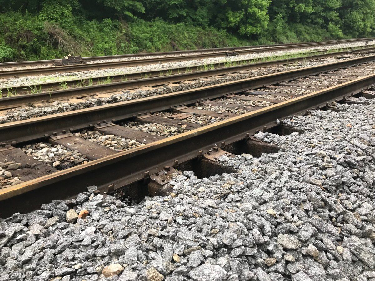 New gravel bolsters tracks in area that was heavily flooded near Little Catoctin Creek. (WTOP/Neal Augenstein)