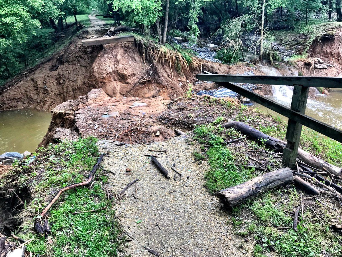The C&O towpath washed away by Little Catoctin Creek. Nearby CSX tracks were flooded and weakened. Tons of gravel have been brought in to stabilize the area. (WTOP/Neal Augenstein)