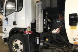 """On May 30, the department tweeted a photo of the bunny on a street cleaner as it was """"sweeping the County in search of a home."""" (Photo courtesy of Arlington DES Twitter)"""