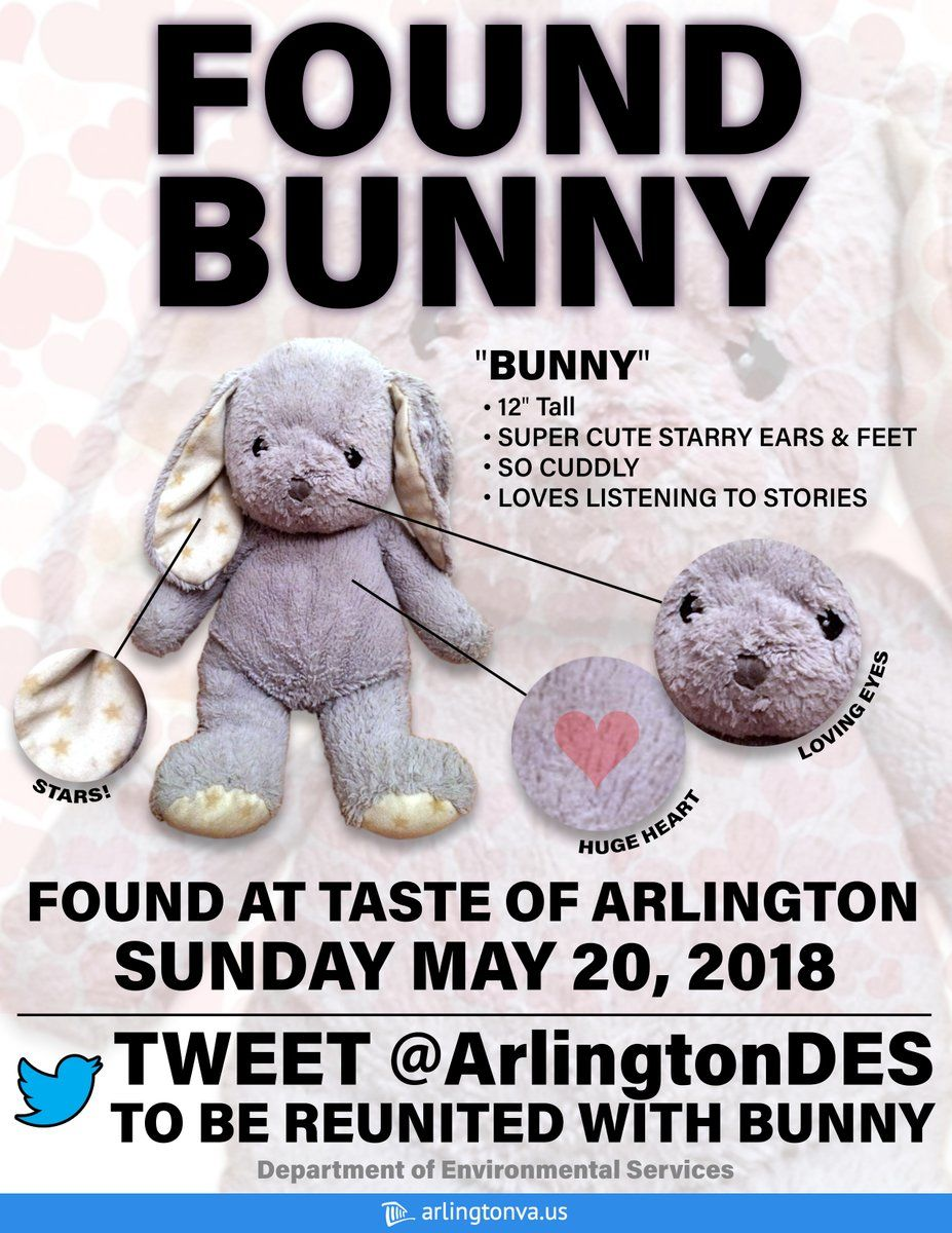 """Arlington officials weren't the only ones getting in on the bunny's search - Twitter user @NickZ from Fredericksburg, Virginia,  posted a photo of his """"Found Bunny"""" sign with the hashtag #Hopeforbunny. Arlington DES retweeted him, calling him a """"mensch"""" for his efforts. (Photo courtesy of NickZ on Twitter)"""