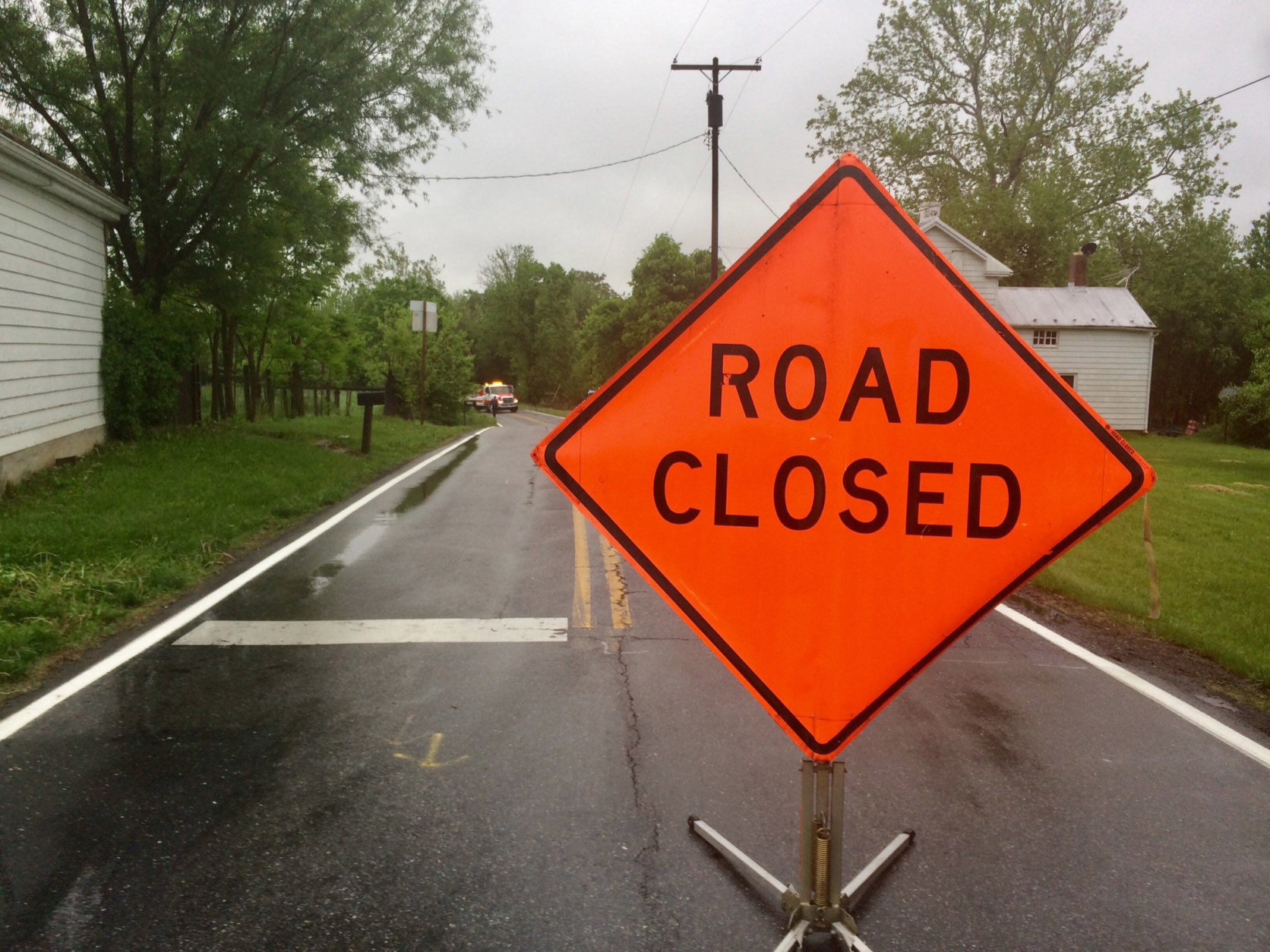 Many roads in Frederick, Maryland, are closed after days of rain. (WTOP/Nick Iannelli)