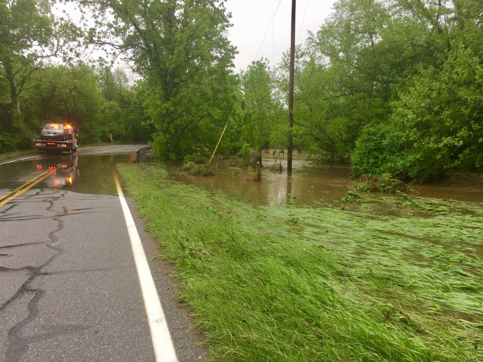 Roads are still flooded in Frederick, Maryland, and water rescues are still happening Thursday, May 17, 2018. (WTOP/Nick Iannelli)