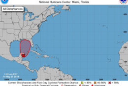 The National Hurricane Center said there is now a 90 percent chance of a subtropical or tropical cyclone forming in the central or eastern Gulf of Mexico on Memorial Day weekend, which could complicate travel plans. (Courtesy National Hurricane Center)