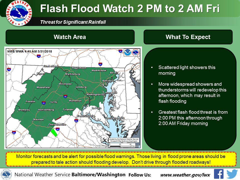 A flash flood watch has been issued for almost all of the D.C. area starting at 2 p.m. Thursday and lasting through 2:00 a.m. Friday. Be prepared to seek higher ground should flooding develop and warnings issued. (Courtesy National Weather Service)