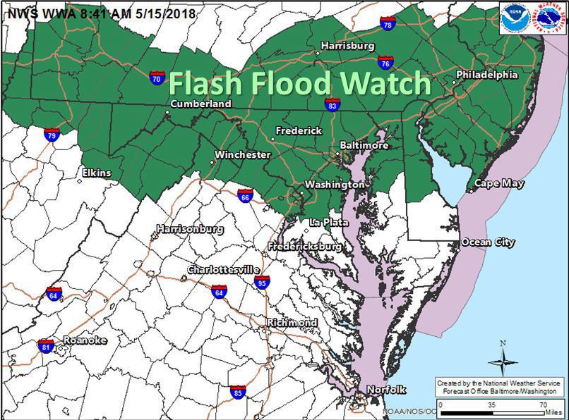 The National Weather Service has issued a Flash Flood Watch for the areas in green beginning at 3 p.m. and lasting until 1 a.m., Wednesday, May 16. The storms will also bring a slight risk of damaging wind gusts and hail. (Courtesy National Weather Service)