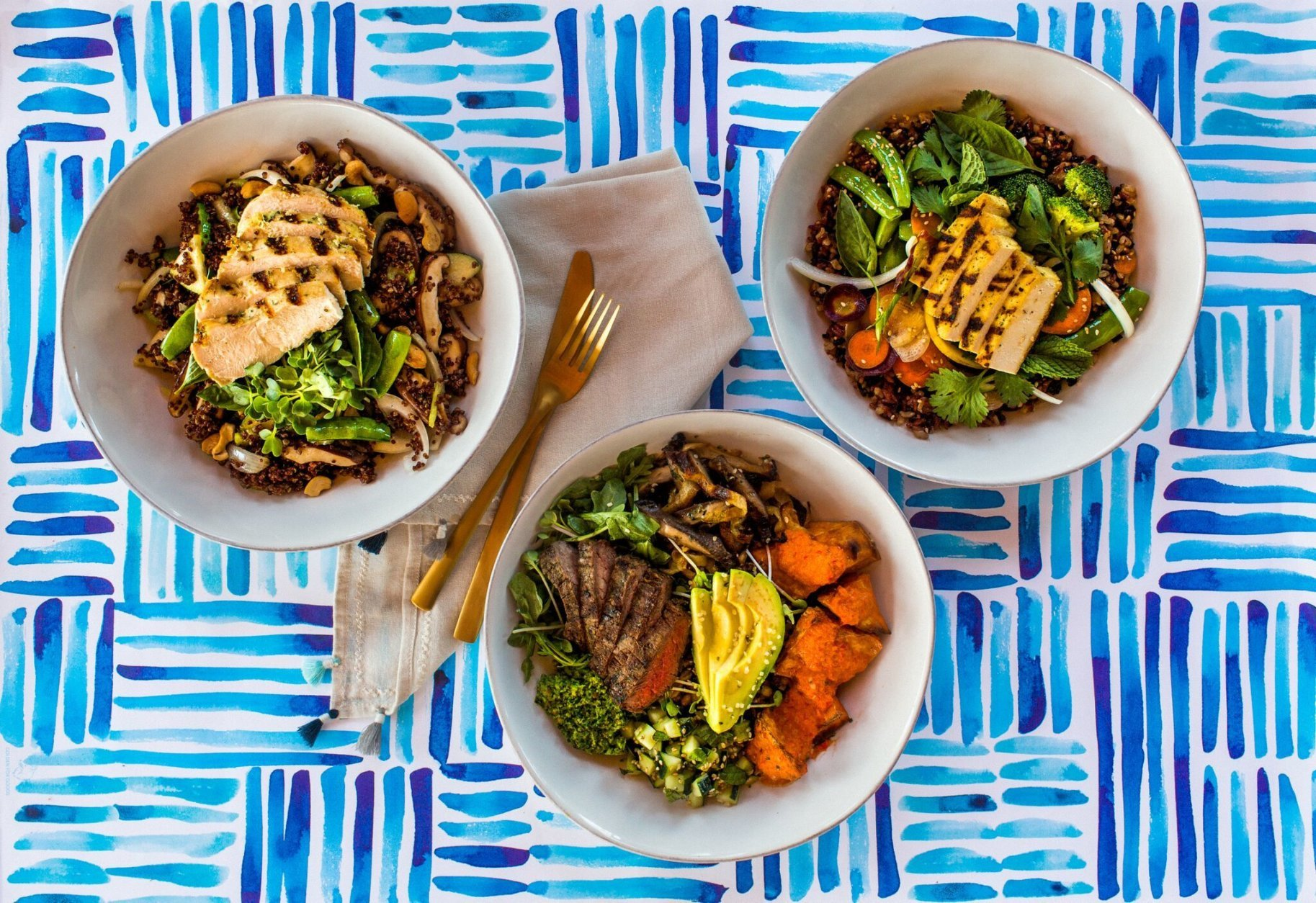 Flower Child will serve organic, gluten-free, vegetarian and vegan dishes for lunch and dinner, including bowls, salads, wraps and mix-and-match plates. (Photo courtesy of Fox Restaurant Concepts)