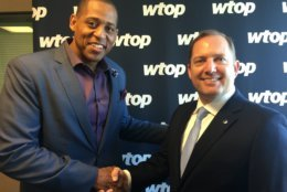 Retired U.S. Army Master Sgt. Cedric King, left, and PenFed Credit Union President and CEO James Schenck visit WTOP to talk about PenFed Foundation donations, what they fund for recipients, and what the contributions mean for military members and their families. (WTOP/Kristi King)