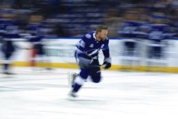 TAMPA, FL - MAY 23:  Steven Stamkos #91 of the Tampa Bay Lightning warms up prior to Game Seven of the Eastern Conference Finals against the Washington Capitals during the 2018 NHL Stanley Cup Playoffs at Amalie Arena on May 23, 2018 in Tampa, Florida.  (Photo by Mike Ehrmann/Getty Images)