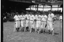 American League All Star team, Griffith Stadium, Washington, D.C., July 7, 1937. Photograph by Harrison & Ewing. Prints and Photographs Division. Lou Gehrig, Joe Cronin, Bill Dickey, Joe DiMaggio, Charlie Gehringer, Jimmie Foxx, and Hank Greenberg gather on the field for the fifth annual All Star Game. Gehrig hit a two-run homer off National League ace Dizzy Dean as the American League went on to win, 8-3.