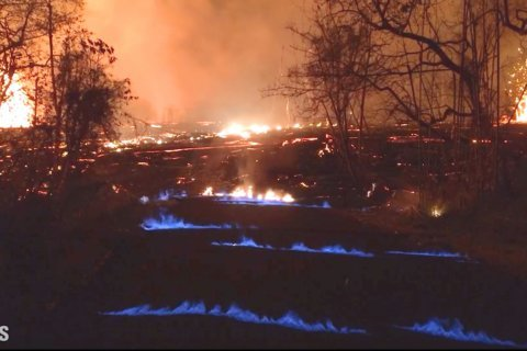 WATCH: Hawaii volcano produces methane and 'eerie' blue flames