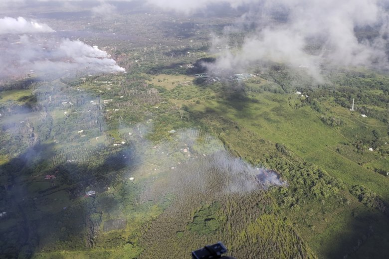 This Saturday May 12 2018 Aerial Image Released By The Hawii County Fire Department Show A View Of Fissure 16 Bottom Right That Erupted Morning