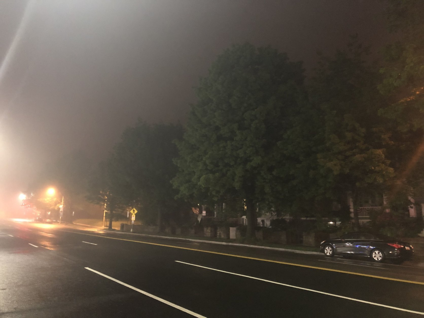 Fog hangs over Wisconsin Ave. in Northwest D.C. (WTOP/Abigail Constantino)