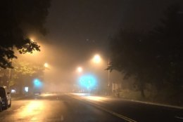 Fog obscures lights in Northwest D.C. outside the WTOP newsroom. (WTOP/Abigail Constantino)
