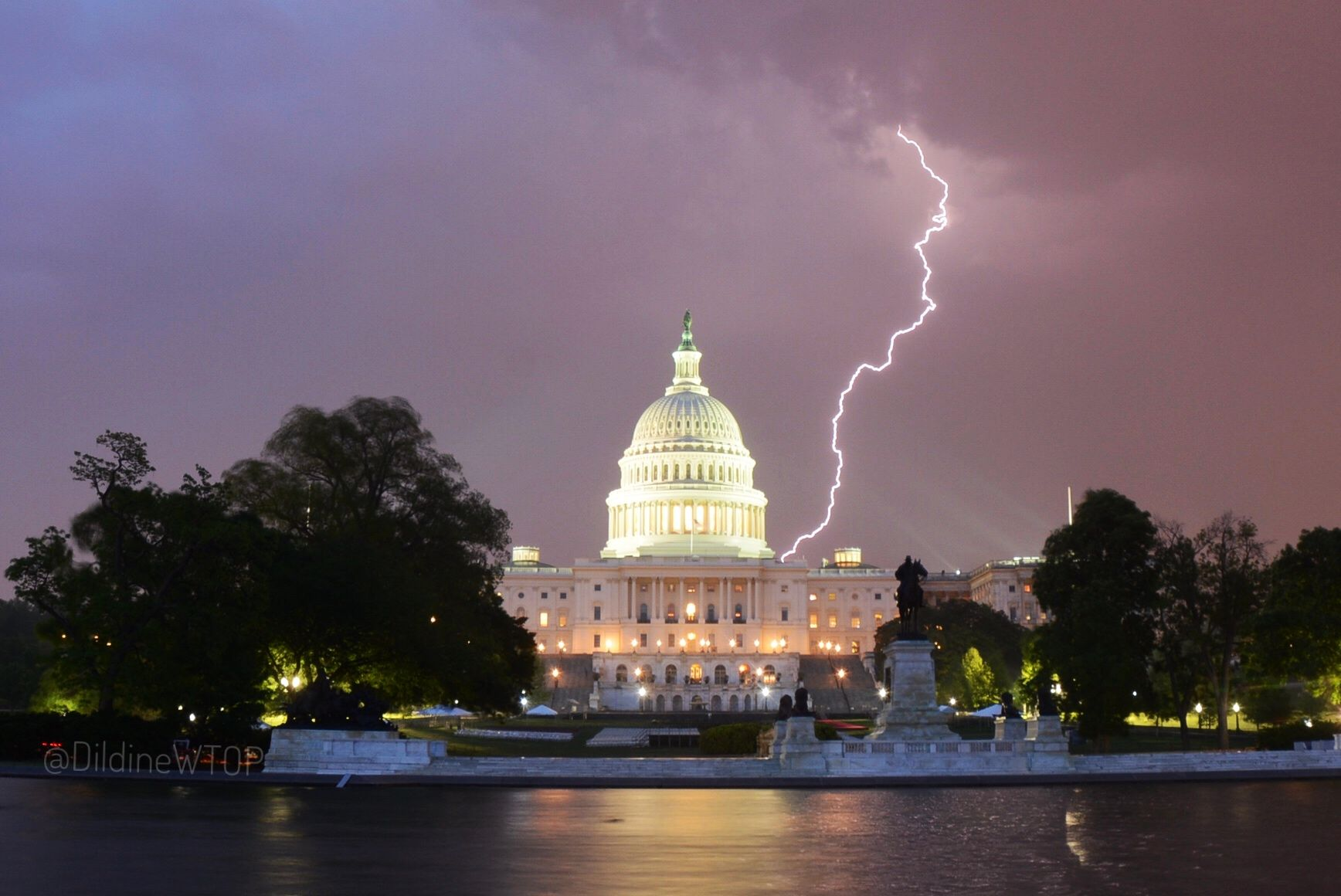 Lightning strikes near the U.S. Capitol on May 12, 2018. (WTOP/Dave Dildine)