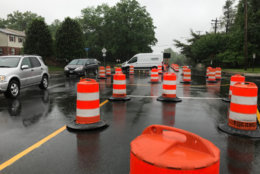 Construction barrels on Ravensworth Road in Annadale. (Courtesy VDOT)