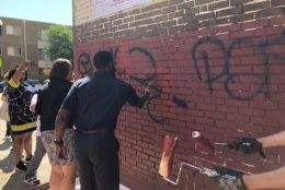 Through July 20, crews will be working their way through the city while also responding to requests from residents. Those who spot graffiti are asked to call 311. (WTOP/John Aaron)