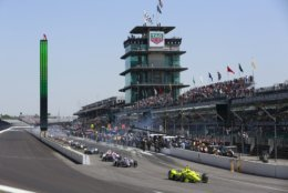 Simon Pagenaud, of France, leads a pack out of the pits during the final practice session for the IndyCar Indianapolis 500 auto race at Indianapolis Motor Speedway, in Indianapolis Friday, May 25, 2018. (AP Photo/R Brent Smith)