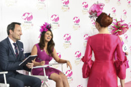 IMAGE DISTRIBUTED FOR LONGINES - Miss America Cara Mund and Pascal Savoy, Longines US Brand President, help judge the Longines Kentucky Oaks Day Prize for Elegance fashion contest, Friday, May 4, 2018 at Churchill Downs in Louisville, Ky. Longines, the Swiss watch manufacturer known for its luxury timepieces, is the Official Watch and Timekeeper of the 144th annual Kentucky Derby. (Photo by Diane Bondareff/Invision for Longines/AP Images)