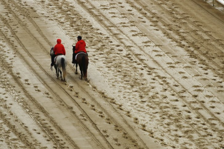 Kentucky_derby_horse_racing_ Outriders Walk On The Track Before The Th Running Of The Kentucky Derby Horse Race At Churchill Downs Sa Ay May