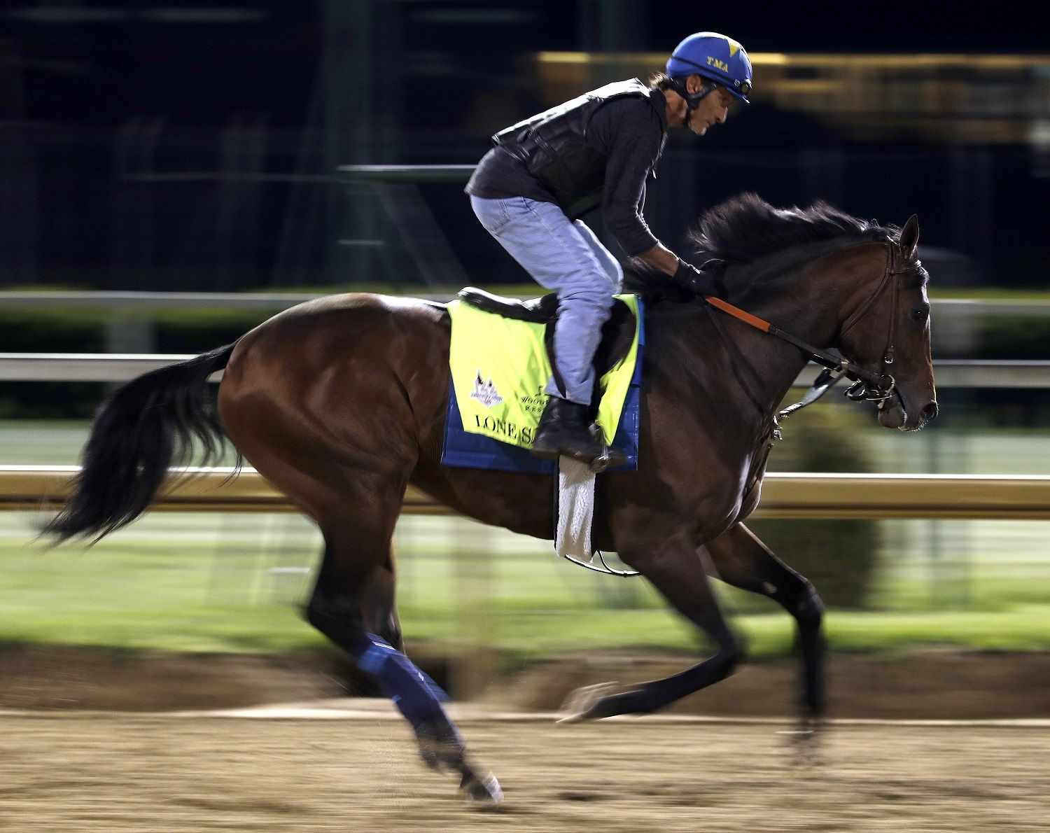 Kentucky Derby hopeful Lone Sailor trains at Churchill Downs Monday, April 30, 2018, in Louisville, Ky. The 144th running of the Kentucky Derby is scheduled for Saturday, May 5. (AP Photo/Charlie Riedel)