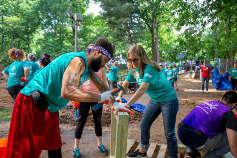 Marriott volunteers build Silver Spring playground in a day
