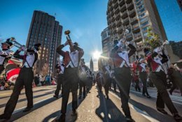 The Herndon High School Marching Band performed in the Philadelphia Thanksgiving Parade in 2017. (Courtesy Mary Brown)
