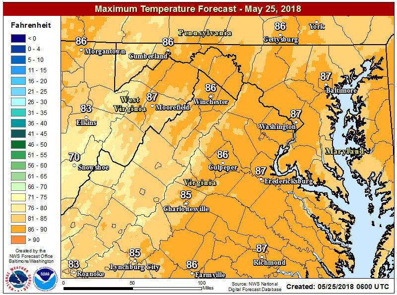 Temperatures are expected to reach the mid to upper 80s for most parts of the D.C. area on Friday, May 25. (Courtesy National Weather Service)