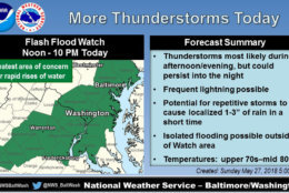Thunderstorms capable of producing heavy rain will be possible on Sunday. A flash flood watch has been issued for most of the D.C. area. (Courtesy National Weather Service)