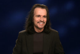 "In this Jan. 28, 2016 photo taken from video, Greek musician Yanni appears during an interview in New York. Yanni, who is currently on tour and has a new album, ""Sensuous Chill,"" will debut a PBS special in March of a recent performance in Egypt at the Great Pyramids of Giza. (AP Photo/Bruce Barton)"