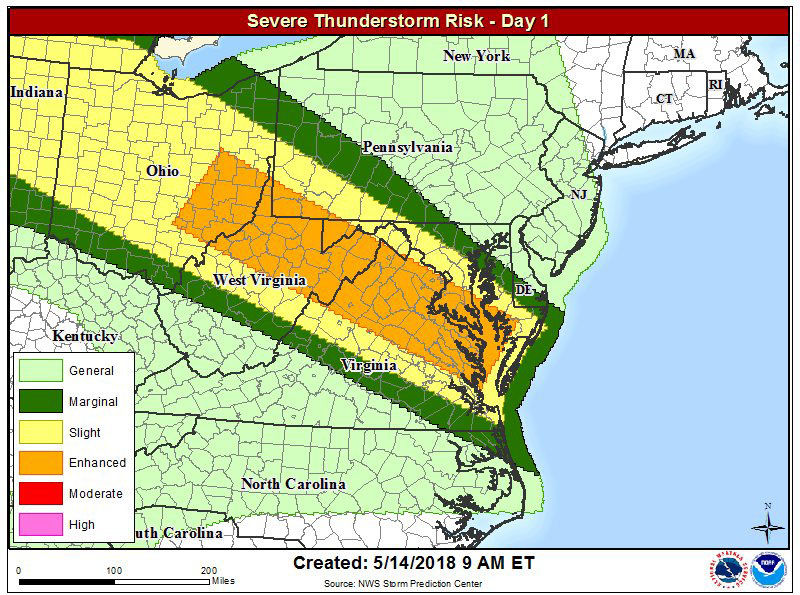 The National Weather Service upgraded much of the D.C. area to an enhanced risk for severe weather on Monday, May 14. Damaging winds will be the primary threat from the storms, which are expected to move inot the area in the afternoon. (Courtesy National Weather Service)