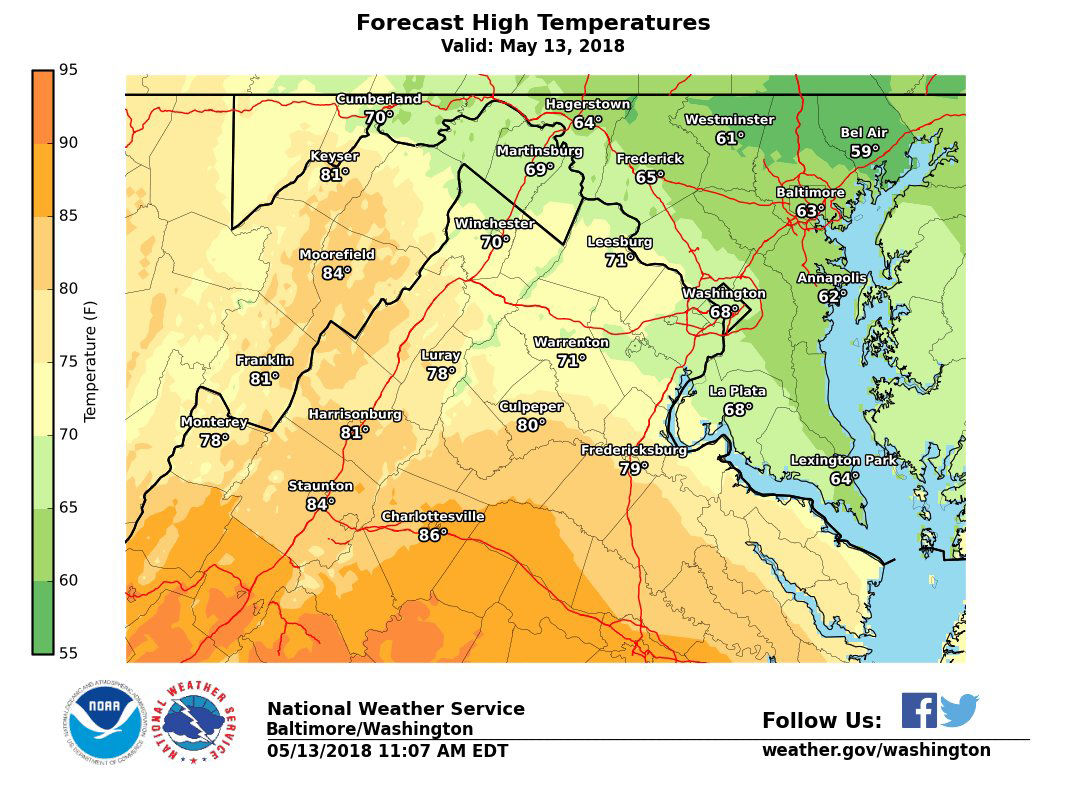 A stationary front draped across the region will keep many northeastern areas in the low to middle 60s on Sunday, Areas south and west of the front will see temperatures into the middle 80s. Thunderstorms are possible Sunday afternoon, some of which could be severe. (Courtesy National Weather Service)